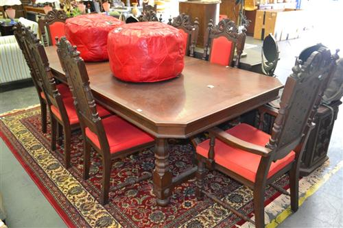 Dining Setting incl. Extension Table w 2 Leaves & 8 Heavily Carved Highback Chairs