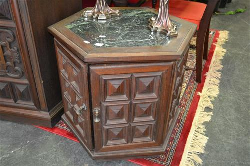 Pair of Hexagonal Cabinets w Marble Insert Tops