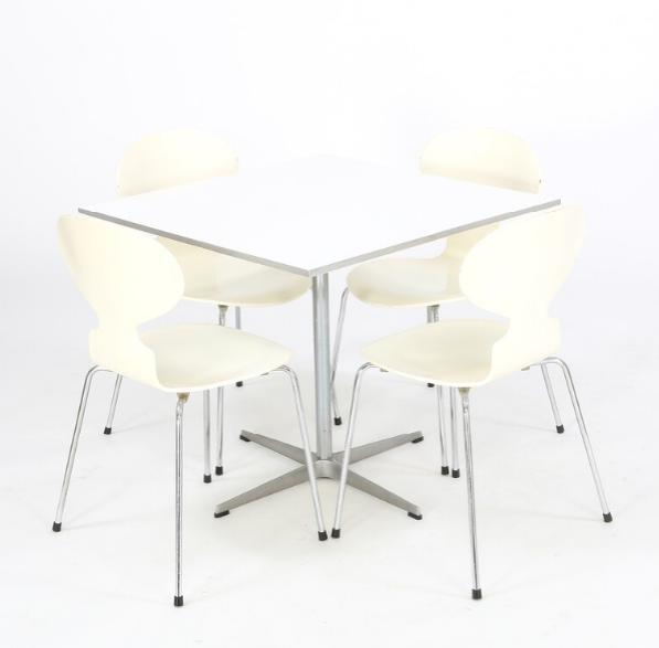 """Square table with base of aluminium and four """"Ant"""" chairs with chromed steel frame"""