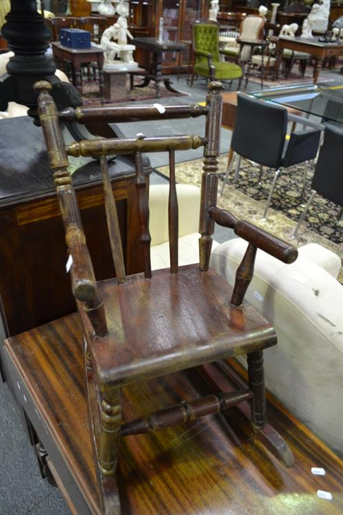 Turned Elm Childs Rocking Chair