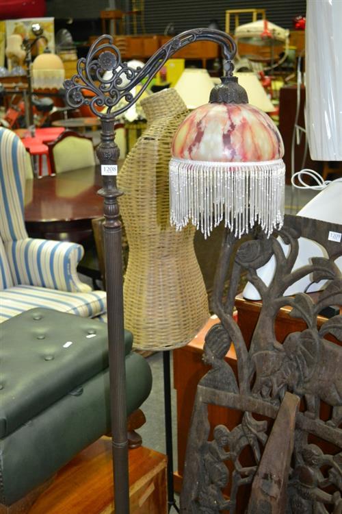Beaded Glass Hanging Shade Standard Lamp