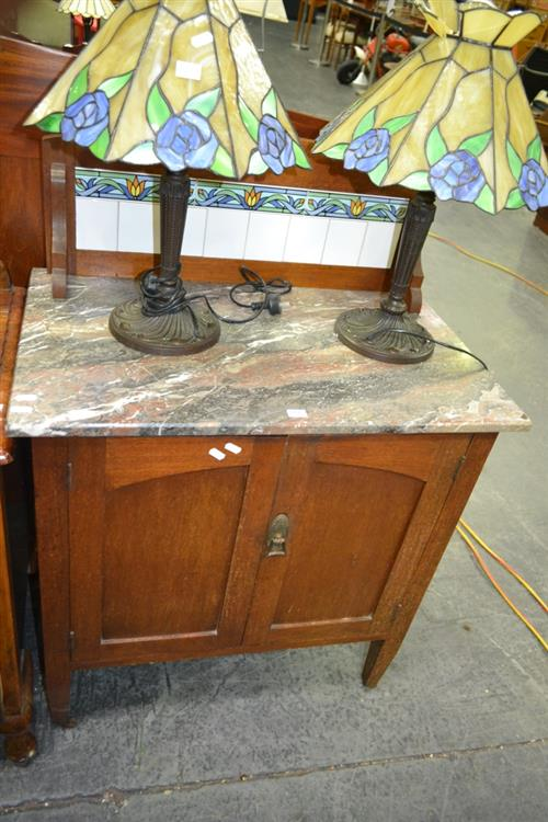 Raised Marble Top Cabinet w Tiled Back, 2 Doors on Castors