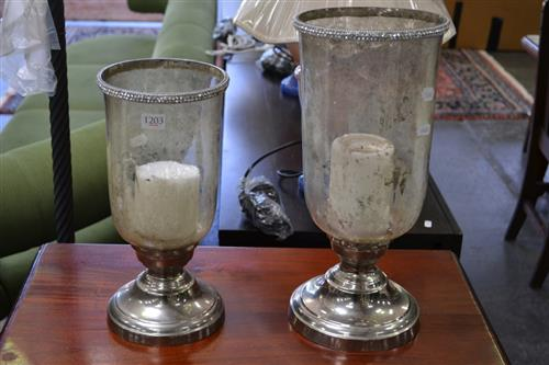 Pair Of Glass And Metal Candle Holders