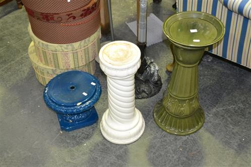 Green Glazed Plant Stand & 2 others