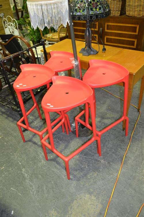 Set of 4 Red Happy Stools