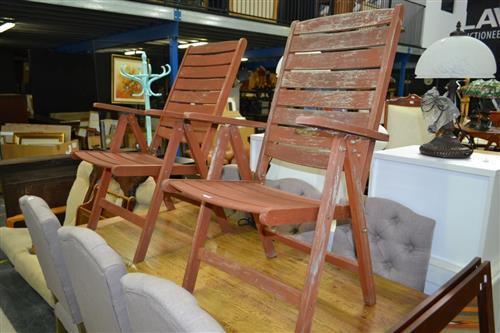 Pair Of Folding Timber Armchairs
