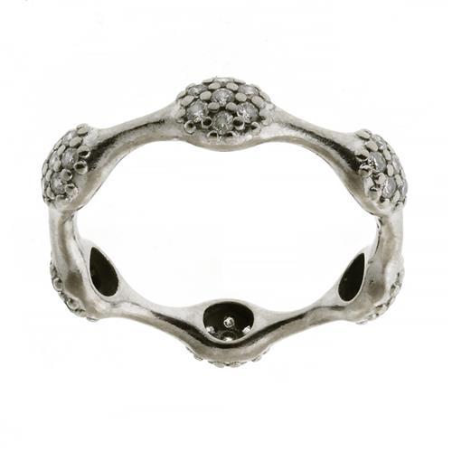 A PANDORA 18CT WHITE GOLD DIAMOND LOVEPOD RING