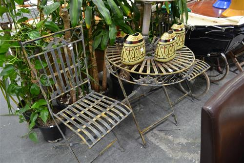 Metal 3 Piece Outdoor Setting incl. Circular Table & 2 Chairs