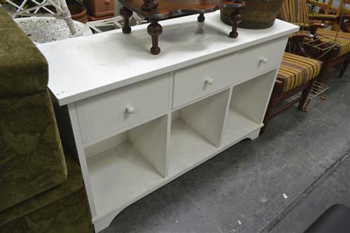 White 3 Drawer, 1 Shelf Hall Table