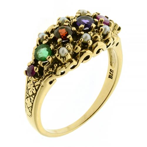 A VICTORIAN STYLE 9CT GOLD REGARD RING