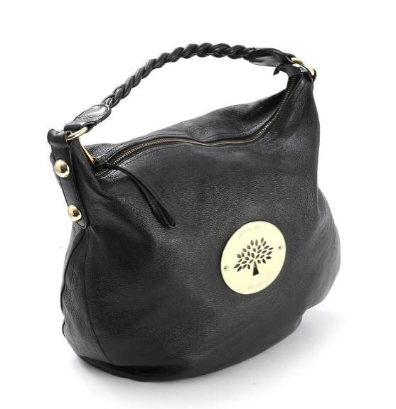 A black leather shoulder bag with gilt hardware