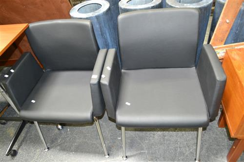 Pair Of Reception Chairs On Chrome Legs