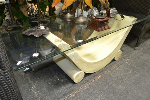 Rectangular Glass Top Coffee Table on Composite Base