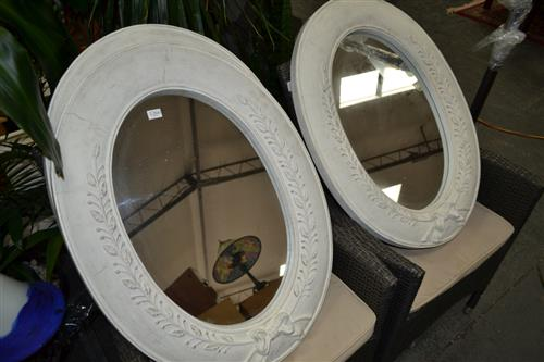 3 Composite Oval Framed Mirrors