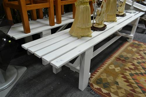 Large Pair of White Painted Benches