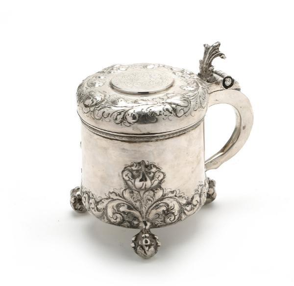 Danish Baroque style silver tankard