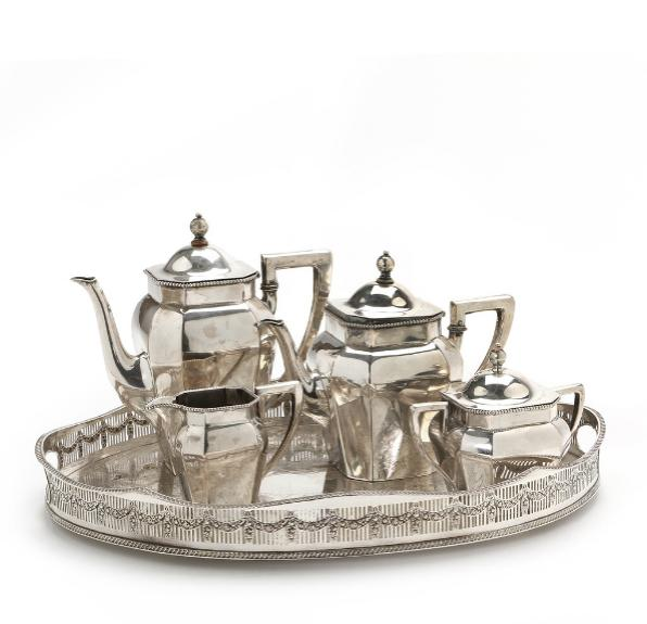 German silver tea and coffee set and English silverplated tray