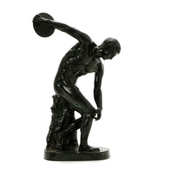 A 20th century patinated bronze discobolus