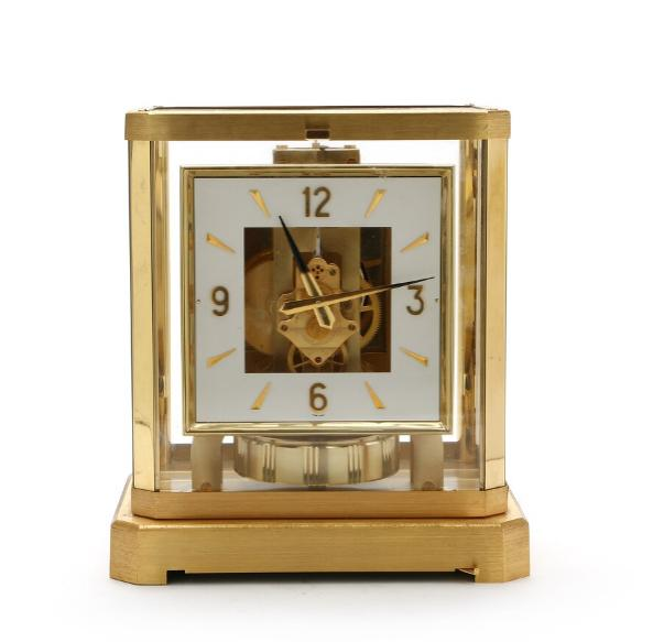 Jaeger-Le Coultre 'Atmos' table clock of brass and glass