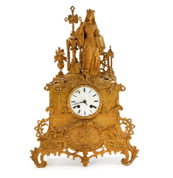 A French figural gilt bronze and metal table clock, white enamel dial