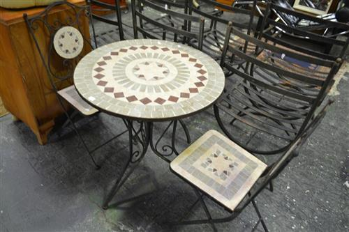 Mosaic Tile Top Suite Of Two Chairs And A Table