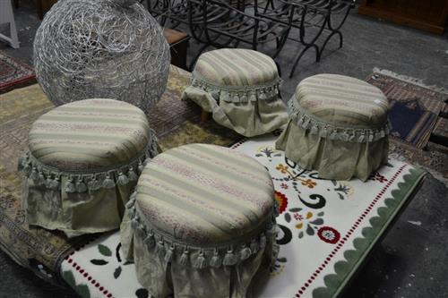 Set of 4 Upholstered Top Ottomans on Timber Legs