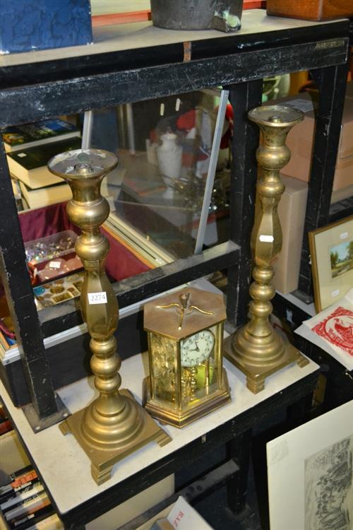 Kundo Anniversary Clock & a Pair of Brass Candlesticks