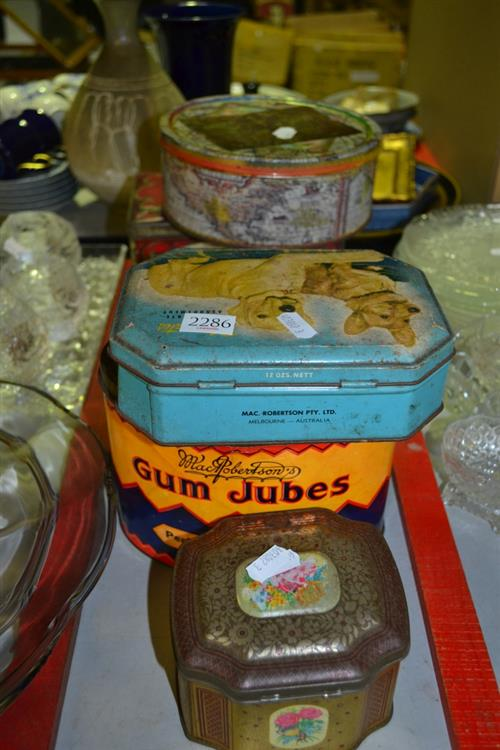 Tins of Buttons, Cotton, etc