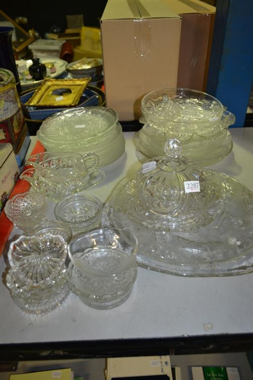 Green Overlaid Glass Vase with Other Crystal & Glass incl. Decanters