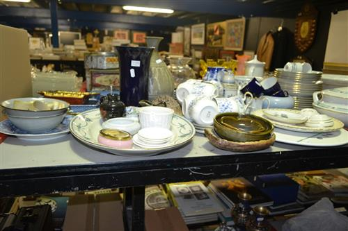 Large Collection of Ceramics incl. Cups & Saucers, Platters, Vases, Decanters, Jugs, Trinket Box, etc
