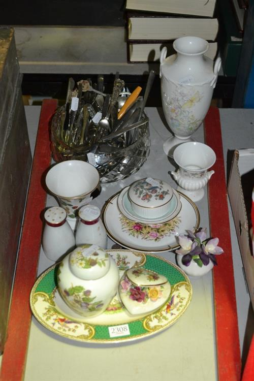 Group of Sundries incl. Wedgwood, Royal Albert, Royal Vale & Other Ceramics, Crystal Bowl of Various Cutlery