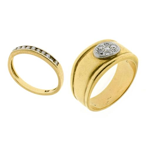 TWO 9CT GOLD DIAMOND RINGS