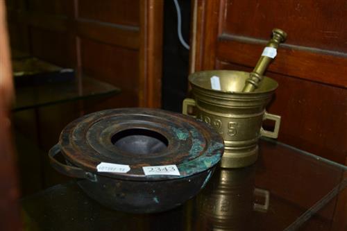 Brass Mortar & Pestle, Copper Bowl
