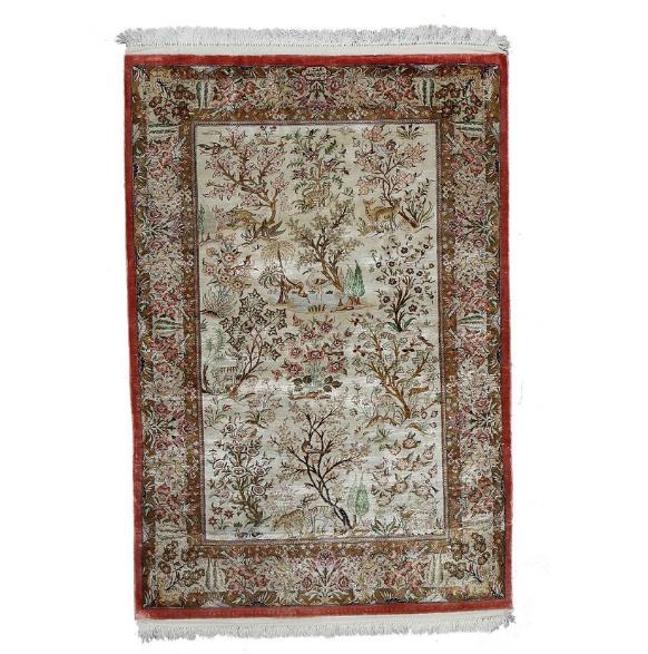 A Qum full silk rug, Persia. A fine tree design example. C. 850.000 kn. pr. sqm