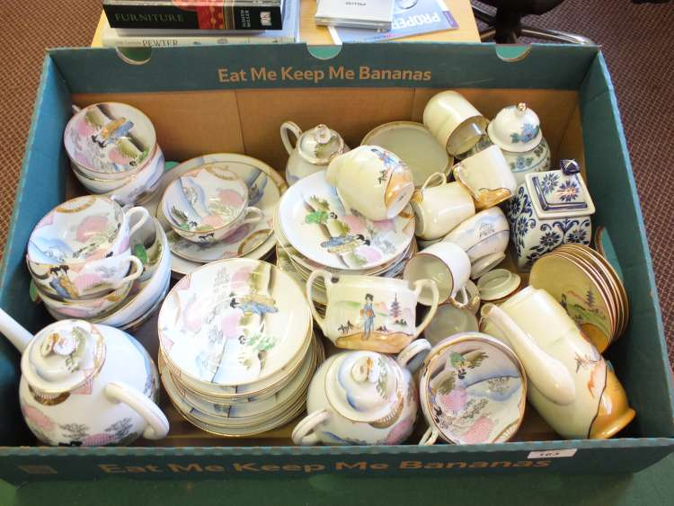 Two Japanese eggshell sets and other Oriental china