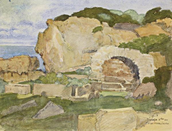 Rochers et ruines romaines à Tipaza, 1944