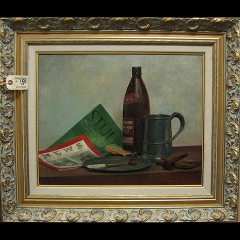 STILL LIFE WITH BOTTLE, TANKARD, PIPE AND MAGAZINE