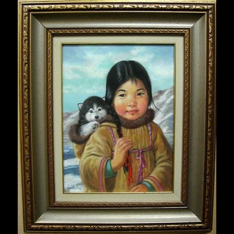 YOUNG INUIT GIRL WITH HUSKY PUP