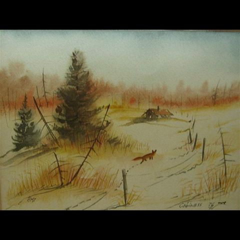 LANDSCAPE VIEWS WITH RED FOX, CABIN AND WINTER STUMPS