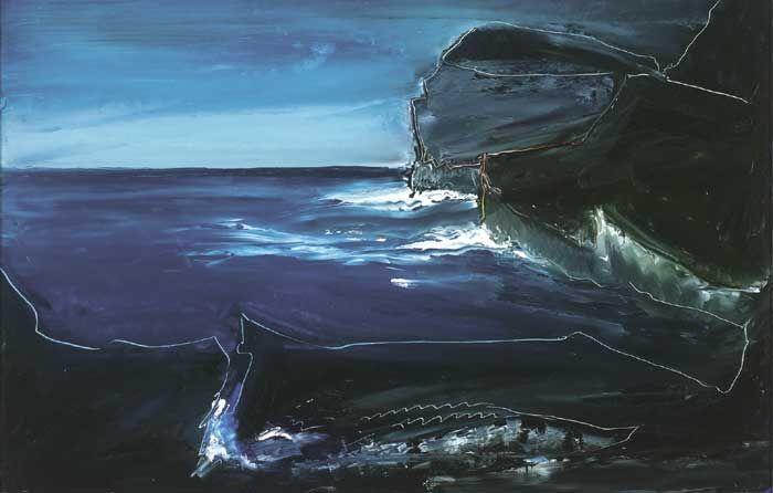 BLUE SEA AND BLACK ROCKS