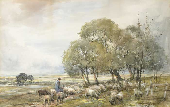 PASTORAL LANDSCAPE WITH SHEPHERD AND FLOCK