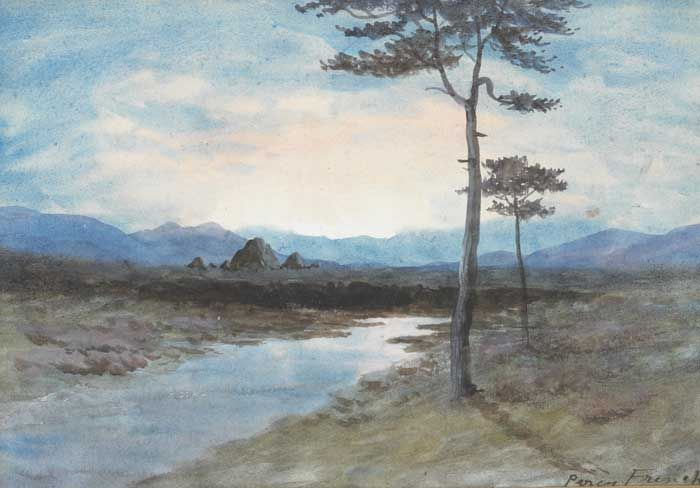 BOG RIVER WITH VIEW OF THE TWELVE PINS, COUNTY GALWAY