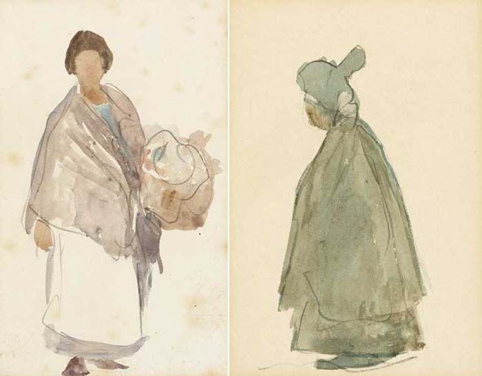 SKETCH OF A DUBLIN WOMAN and DUBLIN FLOWER GIRL (A PAIR)