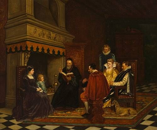 An interior with figures in the time of Catherine de Medici