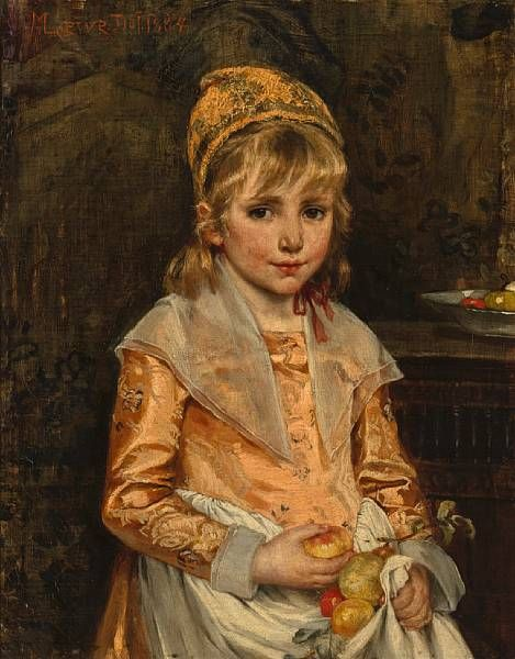 A girl with apples