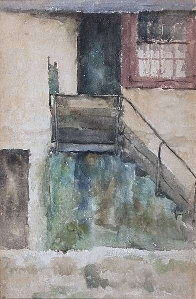 Outdoor steps to an upper floor - sketch for the background of 'Among the Missing'