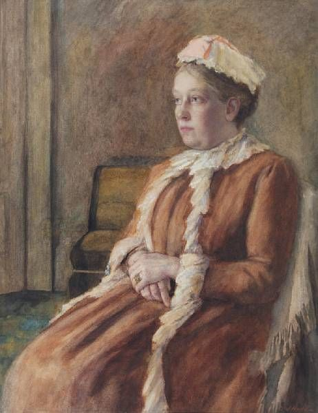 Portrait of a lady, three-quarter length, seated, wearing a pale brown dress