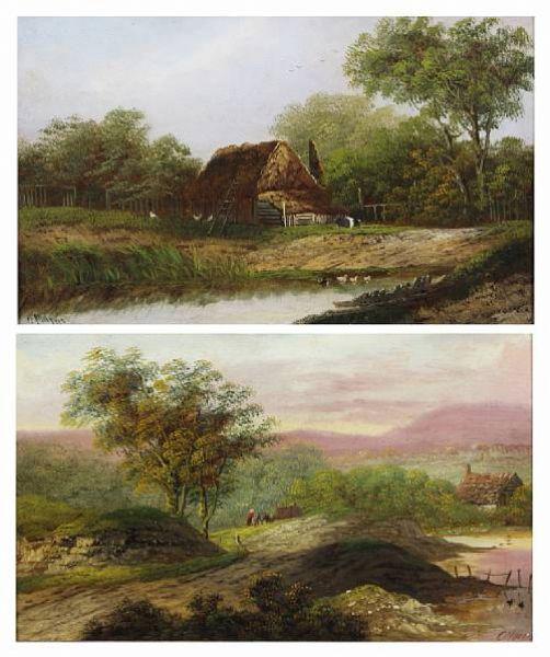 Rustic dwelling by a pond; gypsy encampment