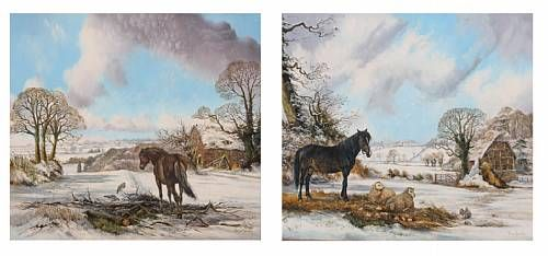 Pony and sheep in a winter landscape; pony before a winter scene