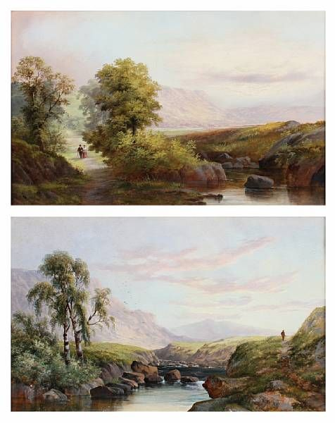 Figure on a path before a mountain lanscape; couple on a riverside path Both signed 'W.B.Henley'